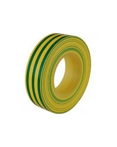 Cinta aislante pvc verde y amarilla 20mts x 19mm