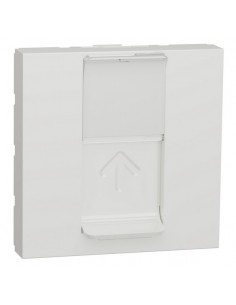 Carátula RJ45 ancha blanco polar compatible Keystone NU946018 de Schneider